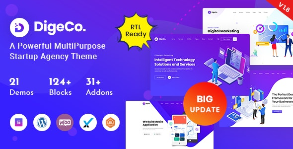 Digeco – Startup Agency WordPress Theme - Software Technology