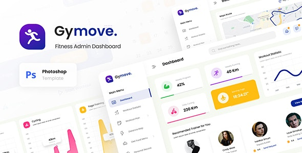 Gymove - Fitness Admin Dashboard Website Design UI Template PSD - Miscellaneous Photoshop
