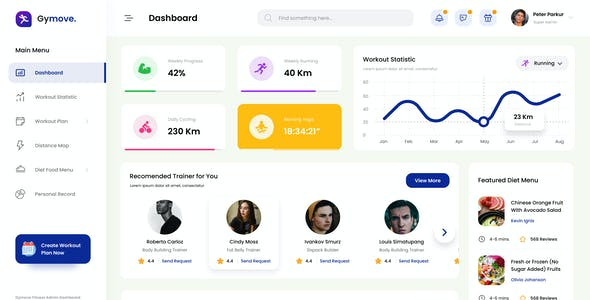 Gymove - Fitness Admin Dashboard Website Design UI Template PSD