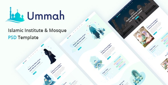 Ummah  – Islamic Institute & Mosque PSD Template - Charity Nonprofit