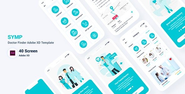 Symp – Doctor Finder Adobe XD Template - Health & Beauty Retail