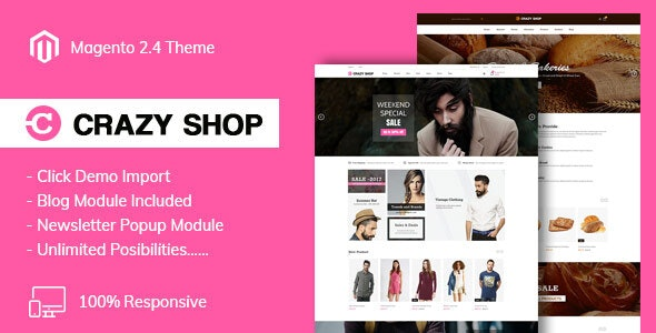 Crazyshop Multipurpose Responsive Magento2 Theme | Fashion | Watch | Food - Magento eCommerce