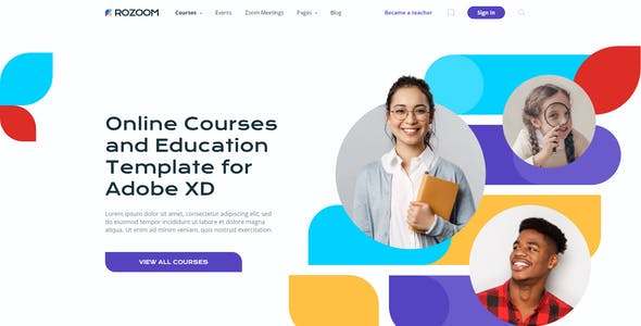 Rozoom - Distance Education & eLearning Template for Adobe XD