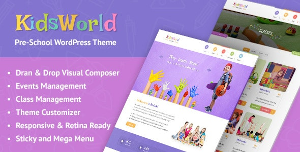 KidsWorld - Kindergarten and Child Care WordPress Theme - Education WordPress