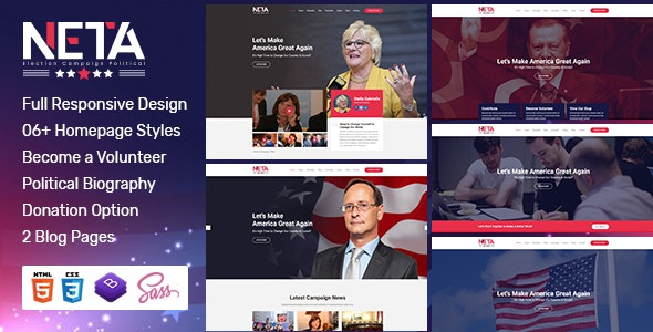 Neta - Election Campaign  And Political Candidate  HTML Template - Political Nonprofit