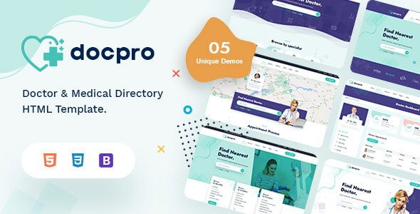 Docpro - Doctors directory and Book Online template - Health & Beauty Retail