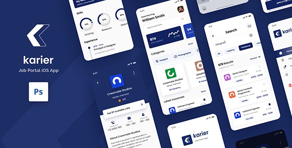 Karier - Job Portal iOS App Design UI Template PSD - Corporate Photoshop