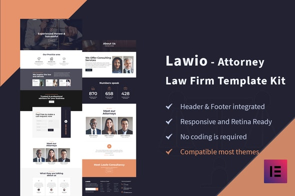 Lawio - Attorney Law Firm Elementor Template Kit - Finance & Law Elementor