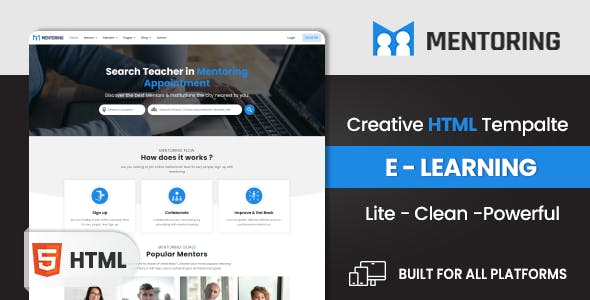 Mentoring - eLearning, Learning management system & Mentor Booking LMS  HTML Template (HTML)