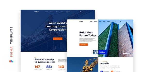 Dustro – Construction Company Template for Figma - Corporate Figma