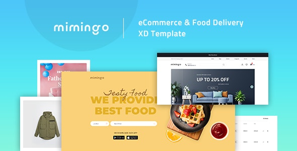 Mimingo - eCommerce & Food Delivery XD Template - Adobe XD UI Templates