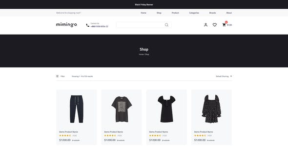 Mimingo - eCommerce & Food Delivery XD Template