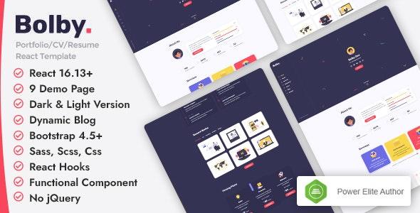 Bolby - React Personal Portfolio CV/Resume Template - Portfolio Creative