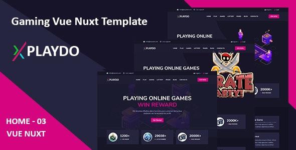 Playdo- Live Gaming & Games Studio Vue Nuxt Template. - Entertainment Site Templates