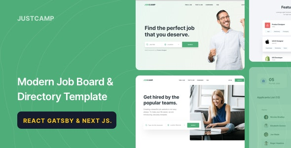 Justcamp - React Gatsby & Next JS Job Board & Directory Template - Site Templates