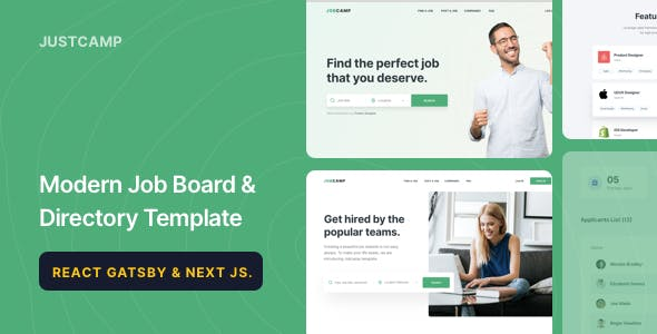 Justcamp - React Gatsby & Next JS Job Board & Directory Template