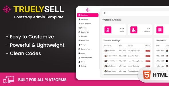 Truelysell - Service marketplace and Sales Bootstrap Admin Dashboard Template (HTML + Angular) - Admin Templates Site Templates