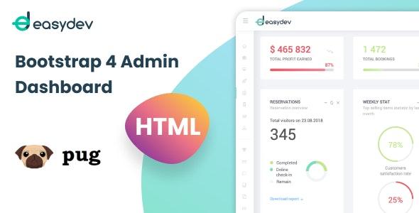 EasyDev — HTML(Pug) Bootstrap 4 Admin & Dashboard Template - Admin Templates Site Templates