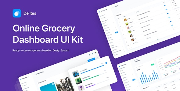 Delites - Grocery Dashboard UI Kit for Sketch - Sketch UI Templates