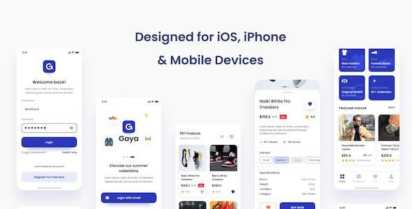 Gaya - Fashion Store iOS App Design UI Template PSD