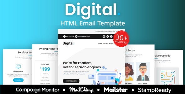 Digital - Multipurpose Responsive Email Template 30+ Modules Mailchimp - Newsletters Email Templates