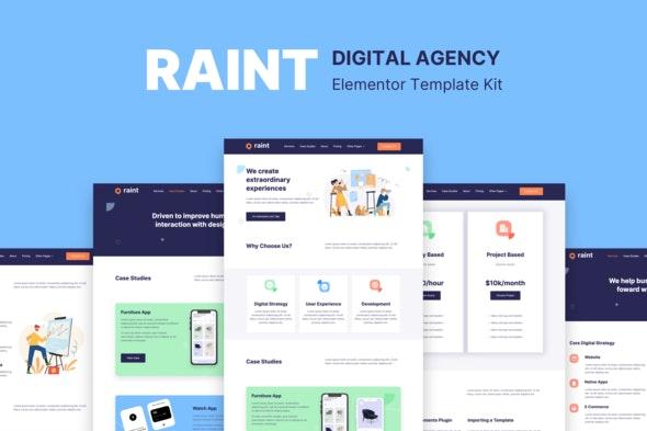 Raint - Digital Agency Elementor Template Kit - Creative & Design Elementor