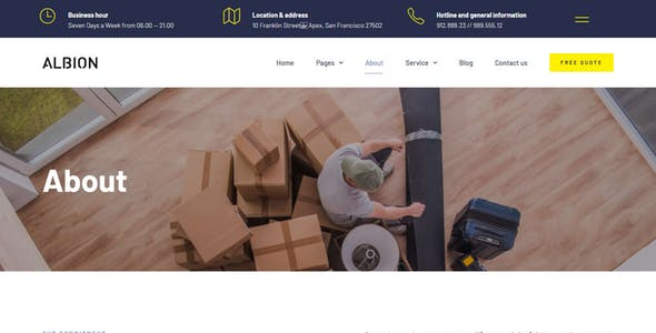 Albion – Moving Company Elementor Template Kit