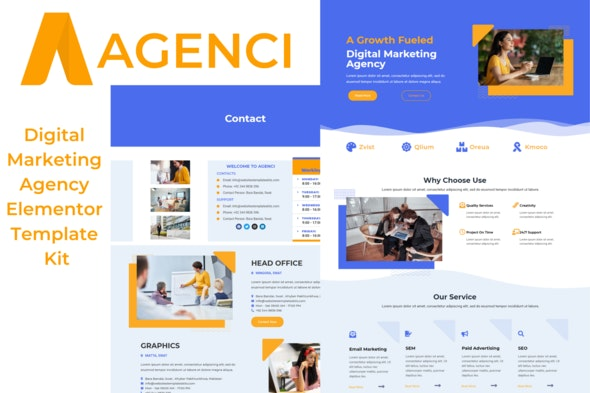 Agenci - Digital Marketing Agency Elementor Template Kit - Business & Services Elementor