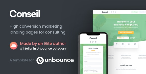 Conseil | Consulting Business Unbounce Template - Unbounce Landing Pages Marketing