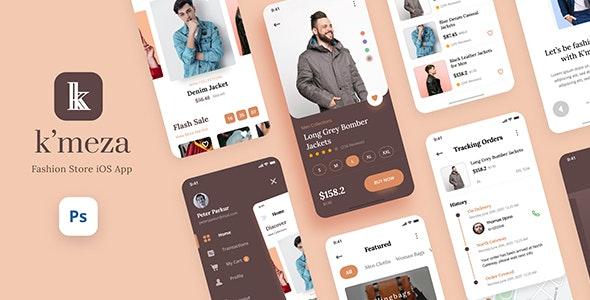 Kmeza - Fashion Store iOS App Design UI Template PSD - Shopping Retail
