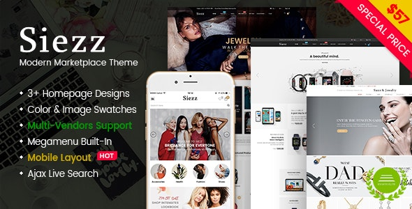 Siezz - Multi Vendor MarketPlace WooCommerce WordPress Theme (Mobile Layout Ready) - WooCommerce eCommerce