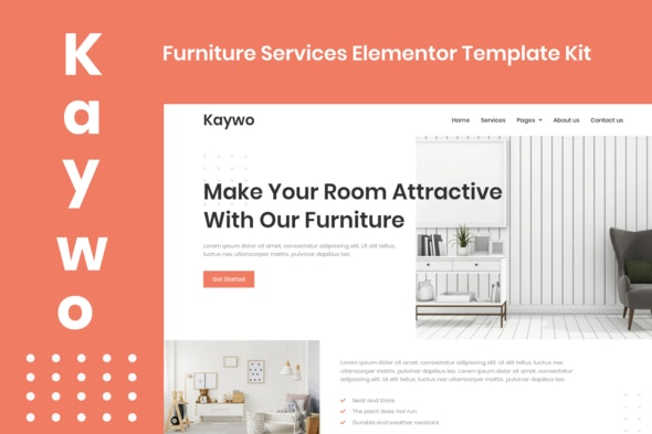 Kaywo - Furniture Services Elementor Template Kit - Business & Services Elementor