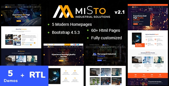 Misto - Factory and Industrial HTML5 Template + RTL Support - Business Corporate