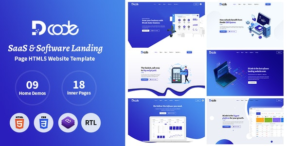 DCode - SaaS & Software Responsive Landing Page Template - Software Technology