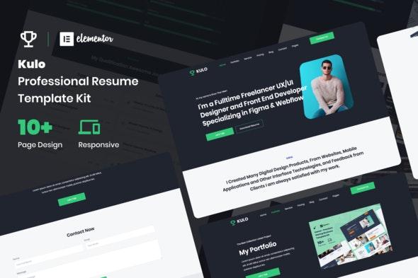 Kulo - Professional Resume Elementor Template Kit - Creative & Design Elementor