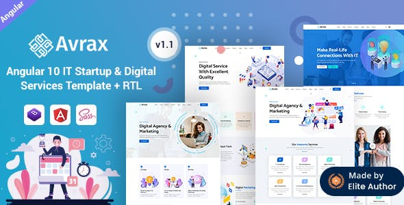 Avrax - Angular 10+ IT Startup & Digital Solutions Template