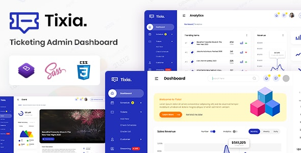 Tixia - Ticketing Admin Dashboard Bootstrap HTML Template - Admin Templates Site Templates