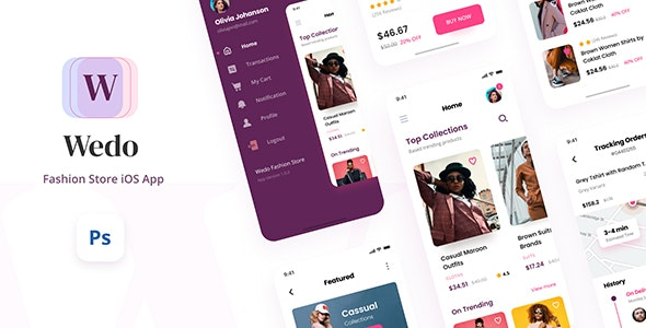 Wedo - Fashion Store iOS App Design UI Template PSD - Fashion Retail