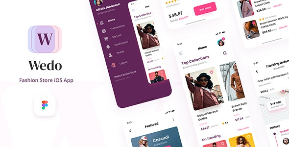 Wedo - Fashion Store iOS App Design UI Template Figma - Fashion Retail