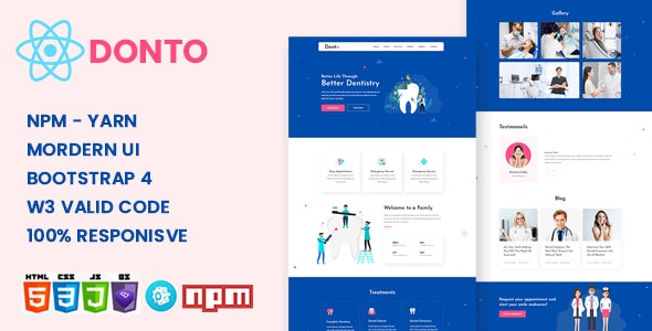 Donto - Dental Clinic & Medical Health React Template - Health & Beauty Retail