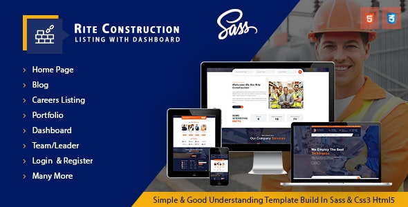 Rite Construction Listing Html5 Template - Corporate Site Templates