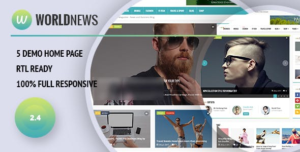WorldNews - Magazine  RTL Responsive WordPress