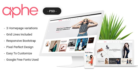 Aphe eCommerce PSD Template - Retail Photoshop