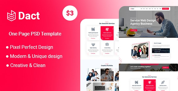 Dact-One Page PSD Template - UI Templates