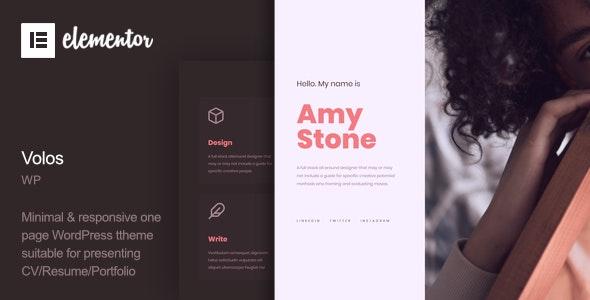Volos - One Page Resume WordPress Theme - Portfolio Creative