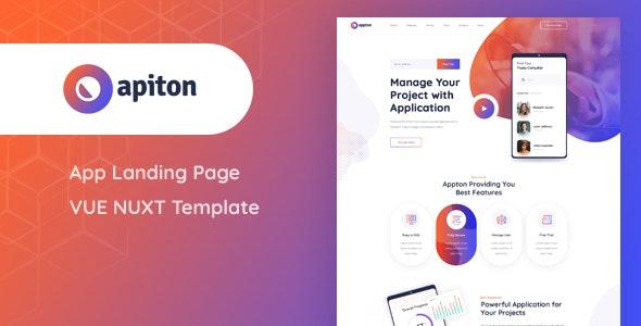 Apiton - Vue Nuxt App Landing Page Template - Technology Site Templates