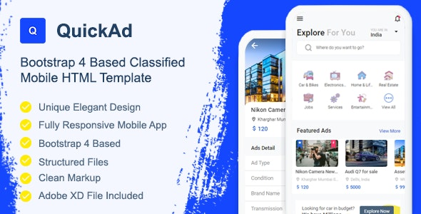 QuickAd Classified Mobile HTML Template - Mobile Site Templates
