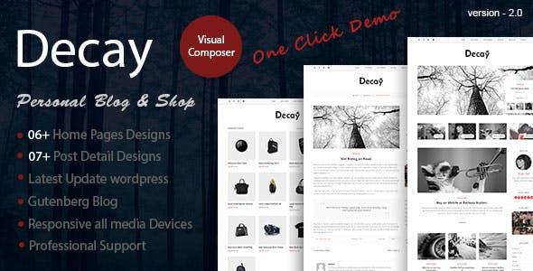 Decay - A Responsive Personal Blog & Woocommerce Shop WordPress Theme