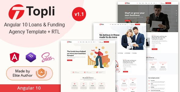 Topli - Angular 10+ Loans & Funding Agency Template - Business Corporate
