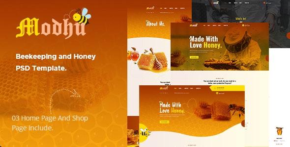 Modhu - Beekeeping and Honey PSD Template - Business Corporate